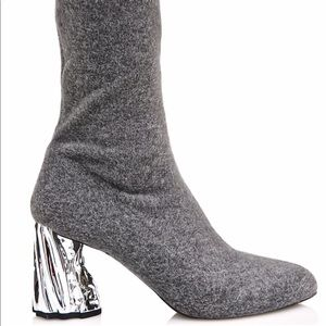 Public Desire Nova Grey Ankle Sock Boots Silver 7